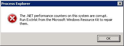 The .NET performance counters on this system are corrupt. Run Exctrlst from the Microsoft Windows Resource Kit to repair them.