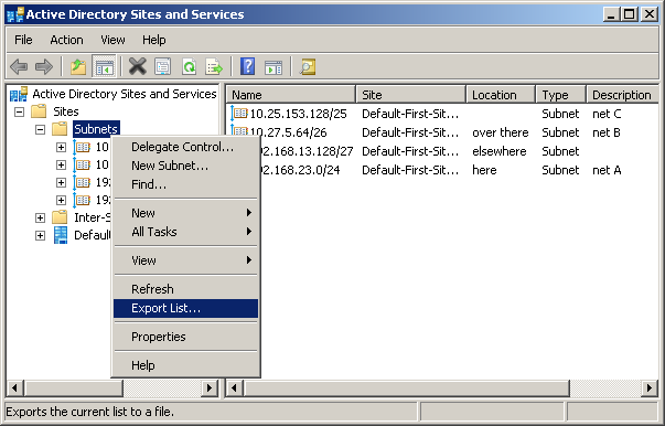 "Subnet export in ""Active Directory Sites and Services""."